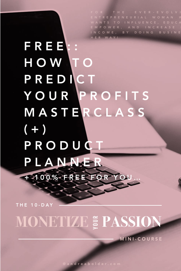 How To Predict Your Profits Product Planner | AndreaBolder.com